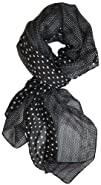 LibbySue-Border Print Polka-Dot Crinkle Scarf in a Choice