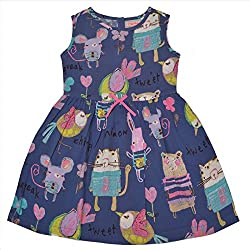 CrayonFlakes Kids Wear for Girls 100% Rayon Sleeveless Blue Frock Animal Print Dress