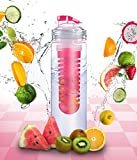 Elite Infuser Water Bottle - 28 ounce - Made with Commercial Grade Tritan - PLUS Recipe Ebook INCLUDED (Red)