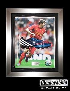 Signed Steven Gerrard Framed Adidas TRX Blue Football Boot R- Liverpool FC by MemorabiliaOutlet