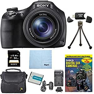Sony DSC-HX400V/B DSCHX400VB DSCHX400V HX400 20 MP Digital Camera Bundle with 64GB High Speed Card, Spare Battery, Rapid AC/DC External Charger, Padded Case, DVD Photography Tutorial, SD Card Reader, Table top Tripod, and MORE
