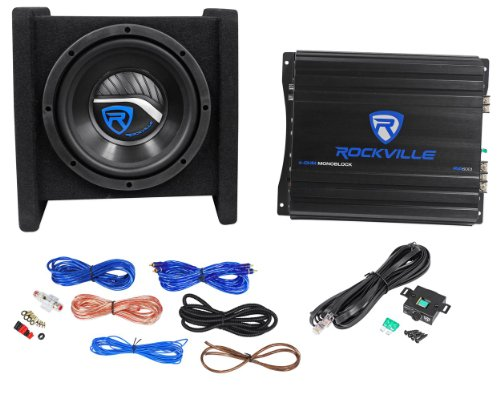 "Rockville Rv8.1A Single 8"" 400 Watts Peak/125 Watts Rms Bass Enclosure System With Matching Mono Block Class A/B Car Amplifier With Wiring Kit And Wired Bass Remote Knob"
