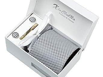 Rayures Grises Ensemble Cravate d'homme , Mouchoir , épingle et boutons de manchette coffret cadeau