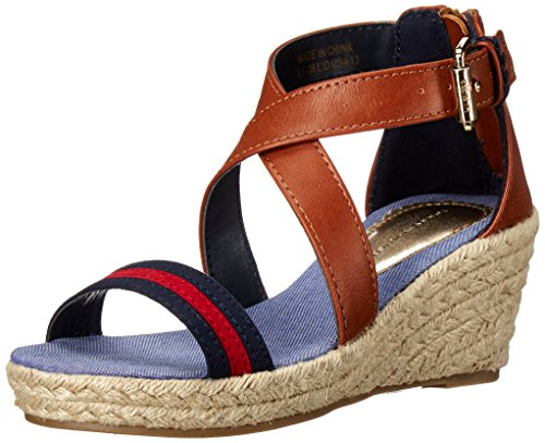 Tommy Hilfiger Kids Anastasia Stripe Wedge Sandal (Little Kid/Big Kid), Cognac, 3 M US Little Kid