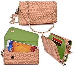 Women\'s Wristlet Clutch THL W11 Monkey King with Credit Card Holder & Removable Crossbody Chain| Tribal Aztec Mayan Pattern| Nude Tan Brown Lime Crime + ND Cable Tie