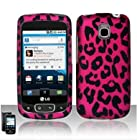 Lg Optimus T/thrive/phoenix P509/p505 (T-mobile) - Rubberized Design Snap-on Protector Case - Hot Pink Leopard