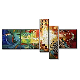 Neron Art - Cancun Abstract Oil Paintings Set of 5 Panels on Gallery Wrapped Canvas 60X38 inch (152X97 cm)