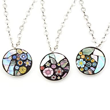 Circle Flower Mosaic Necklace by Angela Ibbs