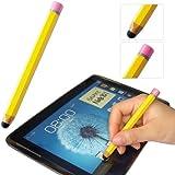 First2savvv yellow pencil-shaped luxury stylus pen for Samsung Galaxy Tab 3 Kids 7.0 (Wi-Fi) Tab 3 10.1 tab 3 7.0 tab 2 10.1 tab2 7.0 Galaxy Note 10.1 2014 Edition Note 1 Note 2 Note 3 & Microsoft Surface 2 10.6 inch Tablet