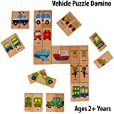 Pigloo™ 28 Pieces Wooden Domino Educational Puzzle Toy Set For Kids Ages 2+ Years (Vehicle Theme)