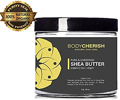 African Shea Butter - Organic, Raw, Unrefined By Body Cherish - Premium Grade A Ivory 100% Natural Moisturizer for Hair & Skin.