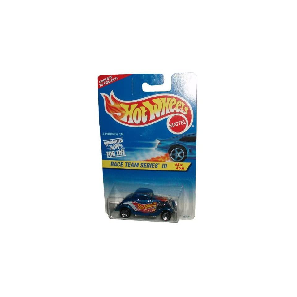 Mattel Hot Wheels 1996 Race Team Series III 164 Scale Die Cast Metal Car # 3 of 4   Metallic Blue 34 Ford 3 Window Coupe   DRAG STRIP READY (Collector #535)
