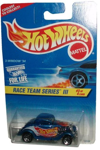 Mattel Hot Wheels 1996 Race Team Series III 1:64 Scale Die Cast Metal Car # 3 of 4 - Metallic Blue '34 Ford 3-Window Coupe - DRAG STRIP READY (Collector #535)