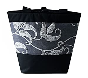 Jayna Bags Women's Large Multipurpose Chenille Leaf Edge Tote Silver Seagull-Gray Black