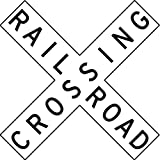 Street & Traffic Sign Wall Decals - Rail Road Crossing Sign - 12 inch Removable Graphic
