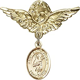Gold Filled Baby Badge with St. Scholastica Charm and Angel w/Wings Badge Pin 1 1/8 X 1 1/8 inches