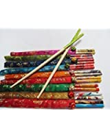 2 Pairs Chinese Style Bamboo Hair Chopsticks with SILK COVER