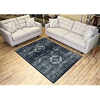 Studio Collection Vintage French Aubusson Design Contemporary Modern Area Rug Rugs 3 Different Color Options (Aubusson Navy Blue, 5 x 7)