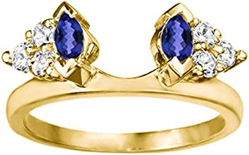 Silver Classic Style Three Stone Inspired Ring Wrap with Diamonds and Sapphire 1 ct twt