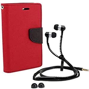 Aart Fancy Diary Card Wallet Flip Case Back Cover For Mircomax Yureka-(Red) + Zipper earphones/Hands free With Mic *Stylish Design* for all Mobiles By Aart store
