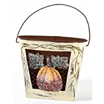 Fall Autumn Tin Wall Pocket with Decorative Wire Front and Rustic Pumpkin Accent-6 Individual Wall Pockets