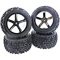 Hpi 1/10 Bullet Mt St Nitro 3.0 * Ammunition Mt Tires & 5 Spoke Wheels, 14mm Hex