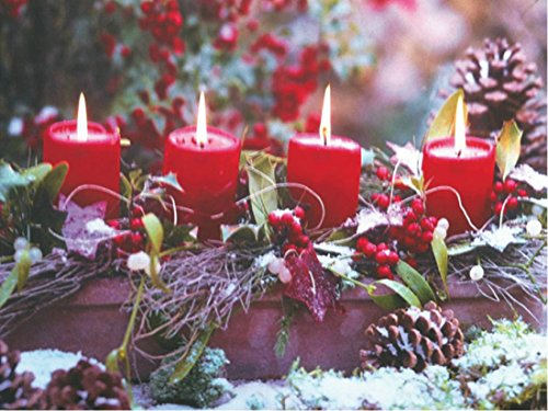 """Led Lighted Candles Winter Canvas Wall Art Picture """"Warm Winter Wishes"""" Candlelight Centerpiece Print"""
