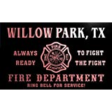 qy67748-r FIRE DEPT WILLOW PARK, TX TEXAS Firefighter Neon Sign Barlicht Neonlicht Lichtwerbung