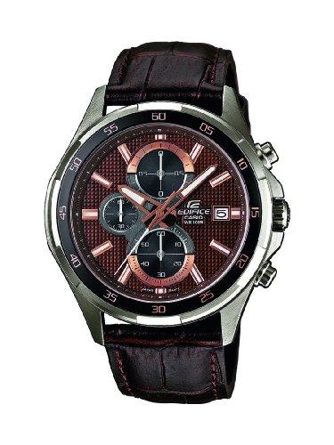 Casio EFR-531L-5AVUEF - Reloj analógico de cuarzo para hombre con correa de piel, color marrón