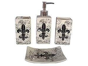 Indecor home 4 piece ceramic fleur de lis bath for Bathroom decor amazon
