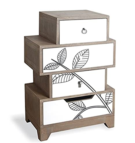 BACK TO NATURE LEAF PRINT WHITE PAINTED FOUR DRAWER STEPPED CHEST OF DRAWERS