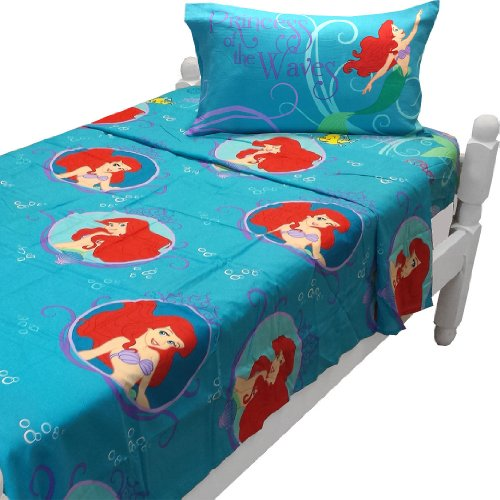 Little Mermaid Twin Sheet Set Princess Waves Bedding front-343277