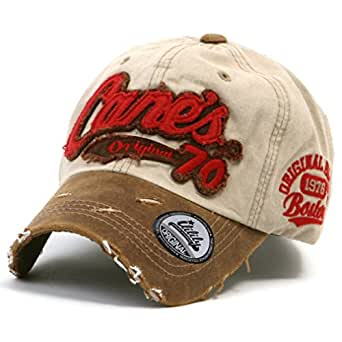 ililily Distressed Vintage Pre-curved Cotton embroidered logo Baseball Cap with Adjustable Strap Snapback Trucker Hat - 507-6