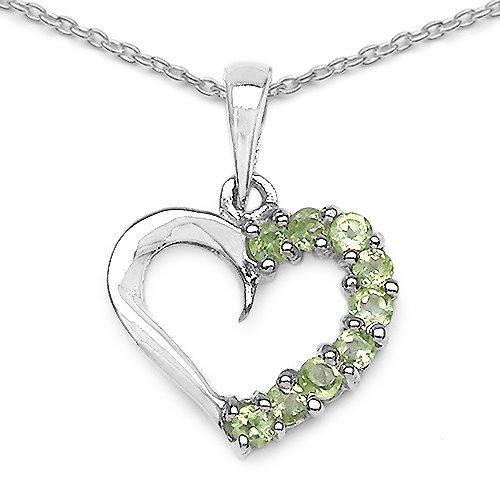 0.45 Carat Genuine Peridot Heart Shape 925 Sterling Silver Pendant
