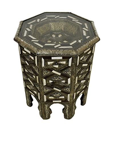 Badia Design Metal & Bone Octagonal Side Table with a Glass Top, Silver/White
