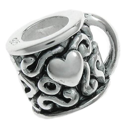 Sterling Silver Tea Cup / Coffee Mug with Heart European Style Bead Charm