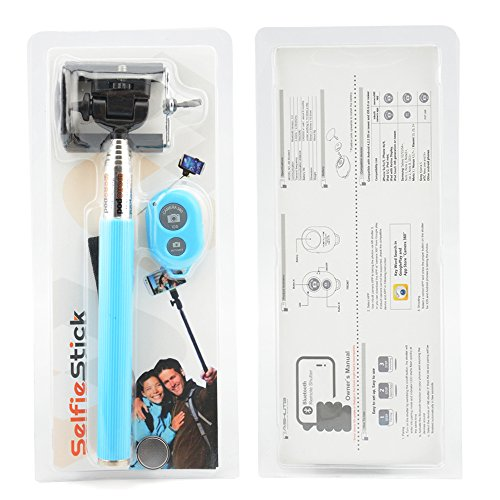 Apexel Extendable Self-portrait Wireless Bluetooth Remote Camera Shooting Shutter Monopod Selfie Handheld Stick Pole with Mount Holder for iPhone Samsung Phones Blue
