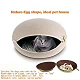 YYF Nature Egg Shape Cozy Felted Pet Caves for Cat Small Beige