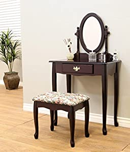 Cherry Finished Wood Bedroom Makeup Vanity Set With Vanity Table Angled Vanity