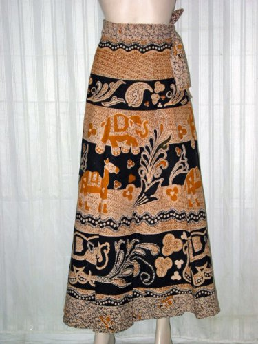 Wrap Skirt- Antique Apricot Color Animal Print Cotton Wrap Around Skirts India 40