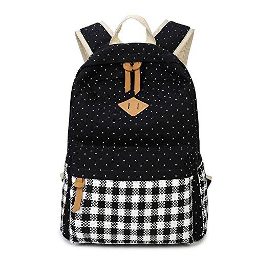 DoubleMay-Fashion-Mdchen-Schulrucksack-Damen-Canvas-Rucksack-Teenager-Baumwollstoff-Streifen-Schultasche-Daypacks-fr-Universitt-Outdoor-Freizeit-QXT-8810