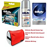 Gillette Grooming Kit (Gillette Mach3 Blades 8pc + Gillette Mach3 Shaving Gel + Gillette After Shave + Gillette...