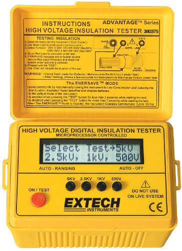 Digital High Voltage Insulation Tester - Extech - EX-380375 - ISBN: B000I3YTM4 - ISBN-13: 0793950383759
