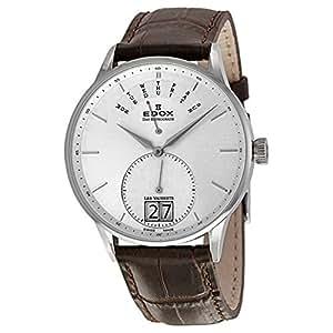 Edox Les Vauberts Silver Dial Brown Leather Mens Watch 34005-3A-AIN