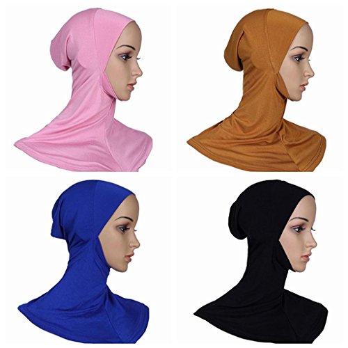 Ksweet 4 Pack Hijab Style Sciarpe Turbante Islamico da Donna Sottosciarpa Underscarf Copre il collo Testa sciarpa chemio cappello (multicoloured-06)
