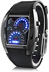 Fashion Aviation Speedometer Blue LED Wrist Watch Silver Dial Black