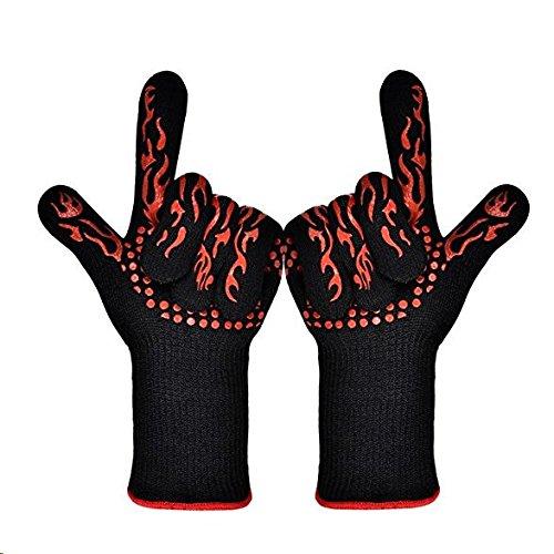 ETmate 2PCS GlovesHeat GlovesBBQ resistente alla griglia guanti da cucina guanti da forno con supporto fino a 932 ° F estremi Guanti resistenti al calore guanti da cucina guanti griglia esterna del bbq Guanti per la cottura alla brace Scaldare il forno a prova di guanti da forno set (lunghi)
