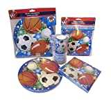 Kids Party Supplies for 8 - Plates - Cups - Napkins - Birthday Banner - Centerpiece (All Sports)