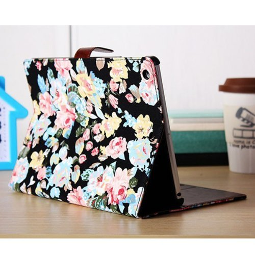 Buy Bargain Flowers Printed PU leather Card Holder Stand Case Smart Cover For iPad Air (Black)