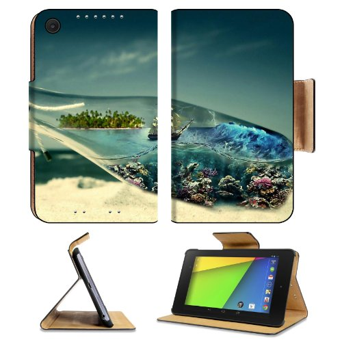 Abstract World Boat In Bottle Sandy Beach Asus Google Nexus 7 Fhd Ii 2Nd Generation Flip Case Stand Magnetic Cover Open Ports Customized Made To Order Support Ready Premium Deluxe Pu Leather 8 1/4 Inch (210Mm) X 5 1/2 Inch (120Mm) X 11/16 Inch (17Mm) Luxl front-1079265